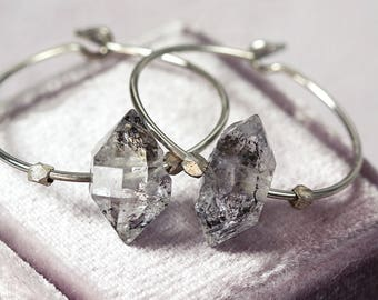 Crystal Hoop Earrings - Herkimer Diamond Earrings - Gemstone Hoop Earrings - Raw Crystal Jewelry - Modern Earrings
