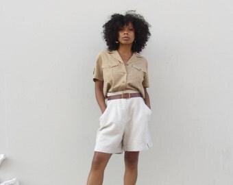 90s beige Linen bermuda shorts