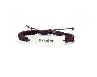Breathe Bracelet, Hemp Bracelet, Personalized Jewelry, Yoga Bracelet, Just Breathe, Meditation Bracelet, Hemp Jewelry, Vegan Hemp Bracelet