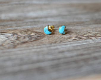 Turquoise Crescent Moon Stud Earrings