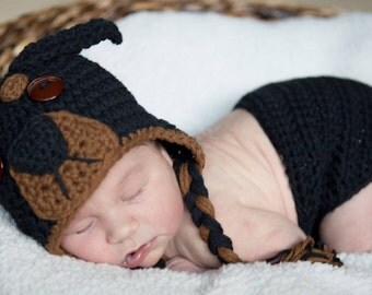 Crochet Rottweiler Puppy Dog Baby Hat and Diaper Cover Photography Prop