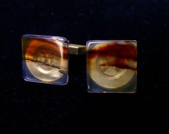 Gold Tone Agate Square Cuff Links Natural Stone Translucent Mens Jewelry Mad Men Don Draper Mid Century Accessories
