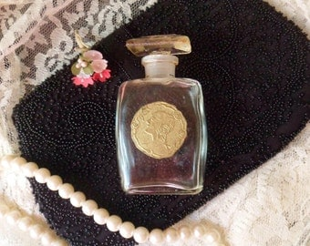 Perfume Bottle with Gold Foil Label of Woman and Roses, Clear Perfume Bottle with Dauber