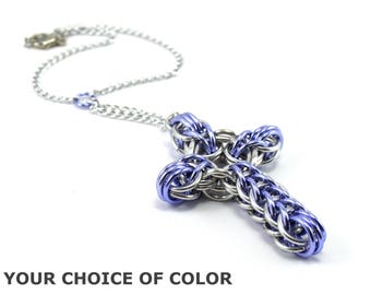 Celtic Style Chainmail Cross Car Rear View Mirror Charm Ornament Decoration