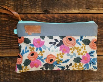 Canvas Montana clutch/Linen floral print/Gray canvas/Caramel vegan leather details/Teal zipper/Swap out any state patch!