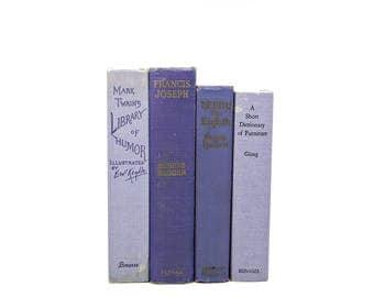 Purple Lavender Antique Books, Pastel Aged Rustic Old Decorative Books,  Book Collection, Country Chic Decor, Farmhouse Book Set