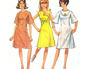Simplicity 6936 Woman Princess A-Line Dress How-To-Sew Mod Dress Pattern Vintage Sewing Pattern Size 14 Teen Bust 34 in  Vintage 1960s