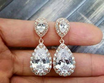 Rose Gold Bridal Earrings, Rose Gold Teardrop Earrings, Rose Gold Bridal Jewelry, Crystal Dangle Earrings, Rose Gold Wedding Jewelry
