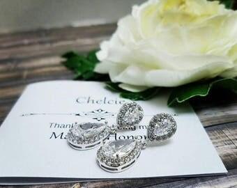 Bridal Earrings, Bridesmaid Earrings, Bridal Teardrop Earrings, Bridesmaid Jewelry, Bridal Jewelry, Bridesmaid Gift, Wedding Earrings