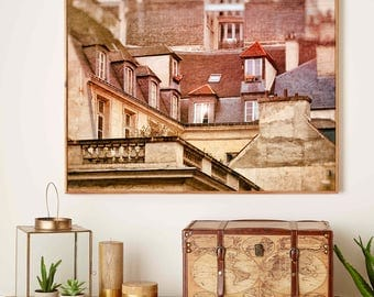 Rooftops photography Paris home wall art, Architectural print, Paris architecture photography 12x18, 11x14 prints, Rooftop large poster