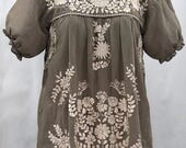"""Mexican Peasant Blouse Top Hand Embroidered: """"La Mariposa"""" Fog Grey with Cream Embroidery ~ Size LARGE"""
