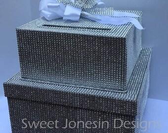 Silver Diamond Bling Covered Wedding Card Box Diamond Mesh Ribbon Sweet 16 Baby Shower
