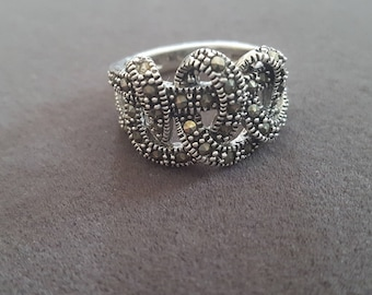 Vintage Sterling Silver & Marcasite Ring // Retro Ring // Statement Ring