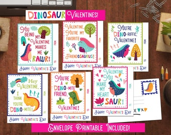 Kids Valentine cards for school Dinosaur Valentines for Classroom valentines for Boys Valentines Printable diy pdf Valentine Cards for kids