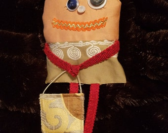 Tooth Fairy pillow doll cute monster doll cloth doll LISA with purse for tooth artbyevelynmarie Art by Evelyn Marie 12 inches hand made