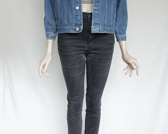 80s Vintage Blue Sturdy Blue Jean Denim Jacket for Men or Women