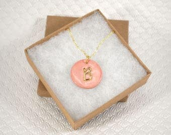 Initial Necklace, Handmade Porcelain Monogram Pendant with 22kt Gold Trim, Letter Pendant, Coral Initial Pendant, Oval Monogram Charm