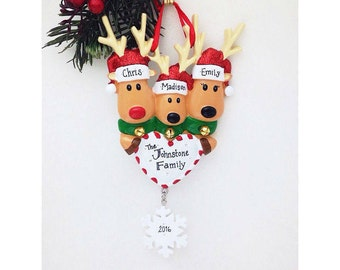 3 Reindeer with Heart and Snowflake Personalized Christmas Ornament / Baby's First Christmas / Family of 3 Ornament