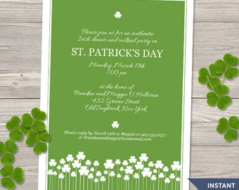 "Printable Shamrock Garden St. Patrick's Day Party Invitation Template, Two 5""x7"" Invites, Editable PDF instant Download"