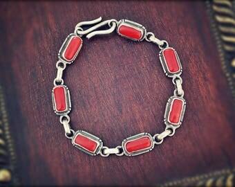 Native American Navajo Coral Bracelet - Small