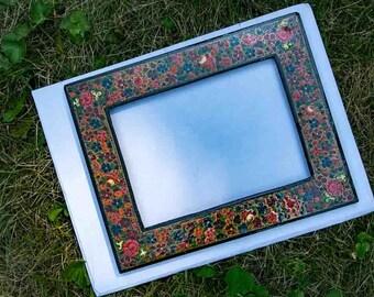 Kashmiri Picture Frame Vintage Boho Hippie Decor 1970s Hand-Painted Wood Multicolor Floral frame