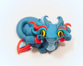 Collectable Dragon Ornament, Dragon Figurine, Dragon Cake Topper, Teal Dragon, Cute dragon, Polymer Clay OOAK Dragon Sculpture