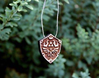 Hylian Shield Wooden Pendant, Legend of Zelda Necklace, Legend of Zelda Pendant, Legend of Zelda Jewelry
