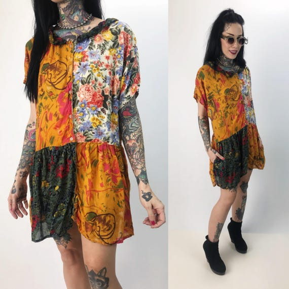 90's Mixed Prints Button Front Tunic Sundress Small - Bohemian Floral Patchwork Thin Slouchy Tunic Top - 80s/90s Comfy Casual Summer Dress