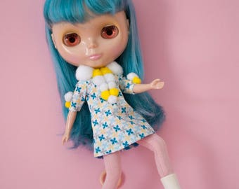 retro kitsch pom pom Blythe doll dress / POMPOMILICIOUS A