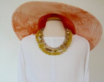 17.0150.0028 Three strand, stunning, statement necklace made with ametrine and African opals in two sizes