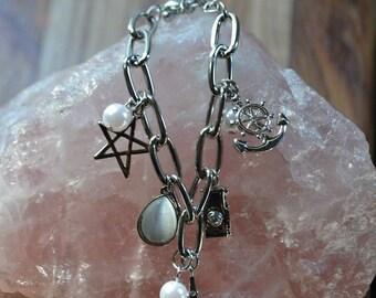 FREE SHIPPING WORLDWIDE-Eiffel Tower Charm Bracelet-Moonstone Bracelet-Star Charm Bracelet-Silver Charm Bracelet-Silver Chain Bracelet