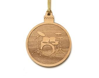 Wood Drum Set Ornament