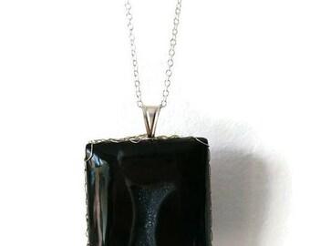 Pendentif Agate noir en argent. Druzy Agate noir.