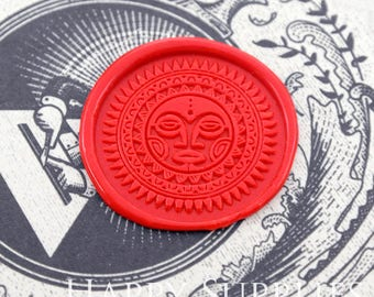 Buy 1 Get 1 Free - 1pcs Zodiac Circle Astrology Symbols Sun Face Gold Plated Wax Seal Stamp (WS375)