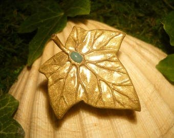 Golden Ivy - handmade Brooch with gorgeous Emerald