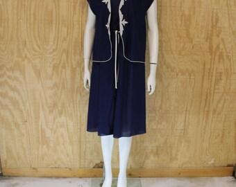 Vintage 1970's Poly Navy Blue / White Semi Sheer  Applique Matching Jacket Sundress Sun Dress Medium Large M / L