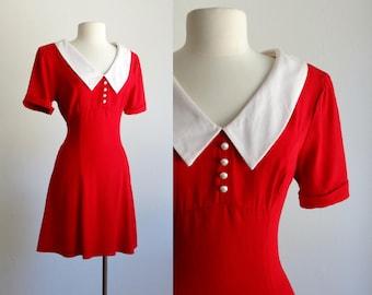 80s mini dress - 1980s vintage baby doll dress - shift mod short skirt sundress - red peter pan collar - women medium large m l