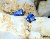 Unique Lapis Lazuli Post Earrings / Polished Blue Lapis Lazuli Pierced Stud Earrings / Blue Lapis Pierced Studs Earrings