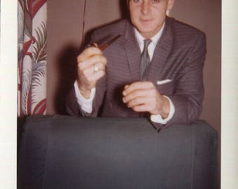 Vintage Kodacolor Print Snapshot Photo of Handsome Older Man Holding a Pipe 1960's, Original Found Photo, Vernacular Photography