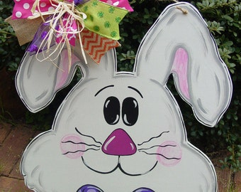 Easter Bunny Rabbit Door Hanger Spring Decor Wood Wreath Angelenes Collection
