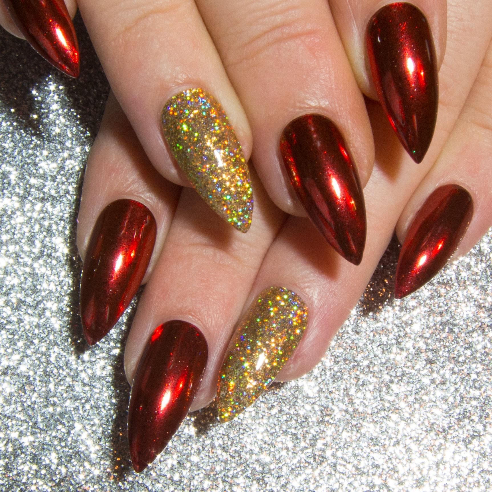 False Nails: Red Chrome Nails Stiletto Fake Nails Christmas False Nails