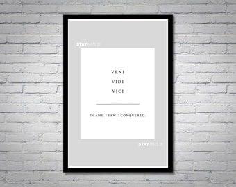 Veni Vidi Vici ( I Came, I Saw, I Conquered) Wall Art Print