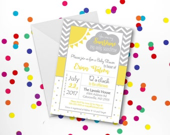 You Are My Sunshine Invitation for Baby Shower (digital or printed!) - FREE SHIPPING!