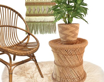Boho Rattan Plant Stand/ Side Table/ Bamboo Plant Holder/ Woven Jute Top  Stool