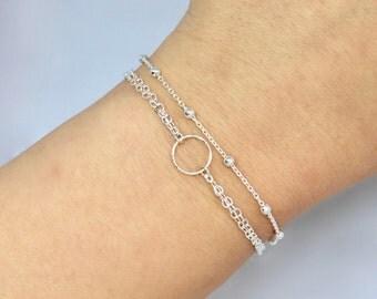 Tiny Circle Layered Bracelet Set, Sterling Silver Satellite Chain Bracelet, Layered Bracelet Set, Dainty Bracelet