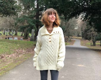 Oversized Ivory Sweater / Vintage Cable Knit Sweater with Wooden Buttons / Long Large Fishermen's Knit