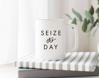 Seize The Day // Coffee Cup //  Coffee Mug // Funny Coffee Mug // Gift For Boss // Girl Boss Mug // Gift Idea // The Busy Bee