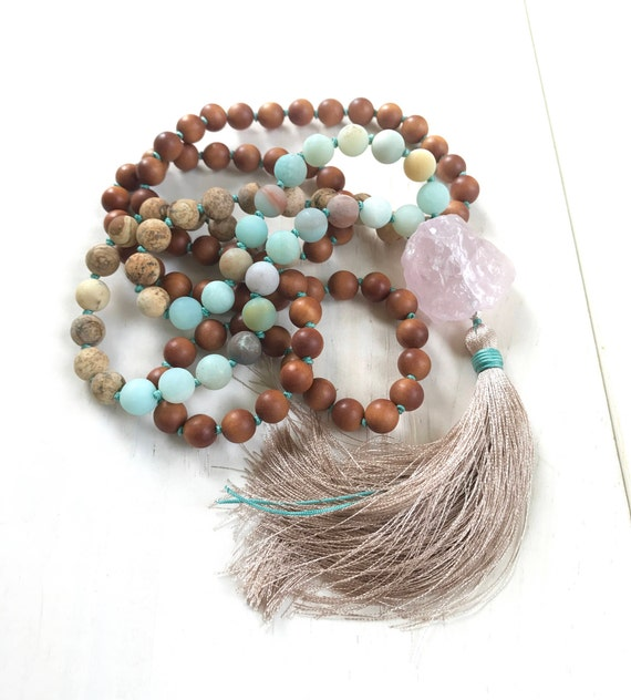 Mala Beads For Inner Peace, Amazonite Rose Quartz Mala Necklace, Jasper and Sandalwood Mala, Knotted Japa Mala, 108 Beaded Mala, Yoga Gifts