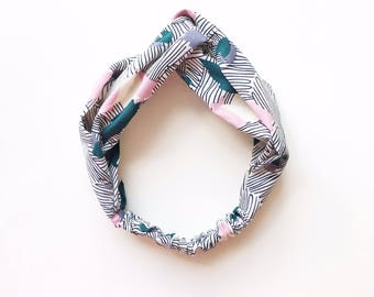 Phyllis Fabric Headband - Turban headband - Striped Florals - Boho headband - Womans headband - Adult headband - White fabric headband
