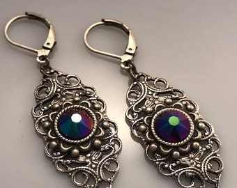 Swarovski Crystal Earrings - Multi Color Crystal Earrings - Dawn Santucci - Metal di Muse - Biker Earrings - Victorian Earrings